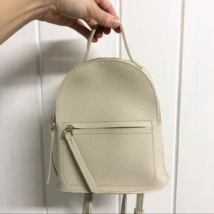 Mini Faux Leather Backpack Tan w Gold Hardware